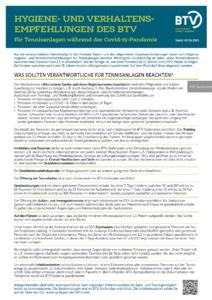 Hygiene- und Verhaltensempfehlungen des BTV